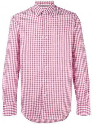 Рубашка в клетку Canali. Цвет: розовый и фиолетовый