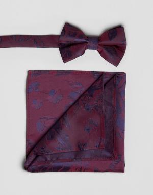 ASOS Галстук-бабочка и платок для пиджака с цветочным принтом. Цвет: красный