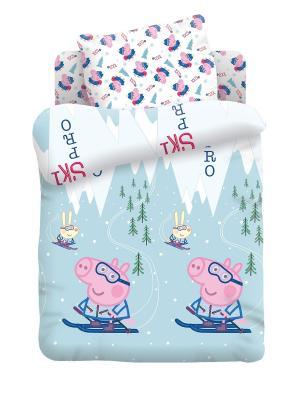 Комплект постельного белья 1,5 хлопок Джордж на лыжах Свинка Пеппа. Цвет: светло-голубой