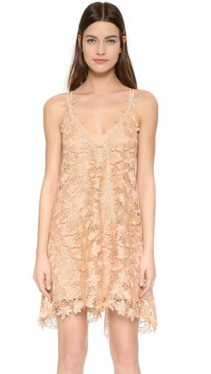 Кружевное платье Jessica ONE by Chris Gramer. Цвет: золотой