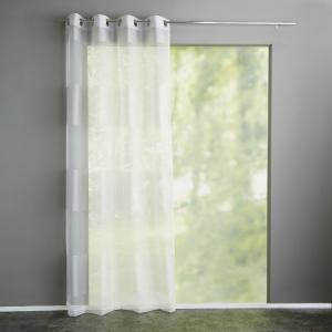 Занавеска в полоску, с люверсами, Justor La Redoute Interieurs. Цвет: белый,серый
