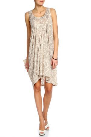 Коктейльное платье Lauren Vidal. Цвет: бежевый