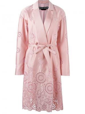 Пальто с перфорированным дизайном Rochas. Цвет: розовый и фиолетовый