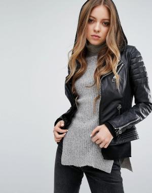 Goosecraft Кожаная байкерская куртка с двойной молнией и отделкой в рубчик Goosec. Цвет: черный