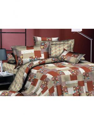 Комплект постельного белья евро, поплин BegAl. Цвет: терракотовый