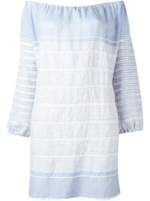 Мини-платье с открытыми плечами Almaz Lemlem. Цвет: синий