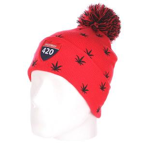 Шапка с помпоном  Weedy Pom Beanie Red/Black TrueSpin. Цвет: красный,черный