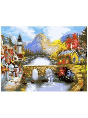 Живопись на холсте 30х40 см. Мост через реку (176-AS) Белоснежка. Цвет: белый