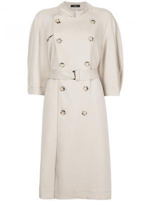 Пальто-тренч с короткими рукавами Bassike. Цвет: телесный