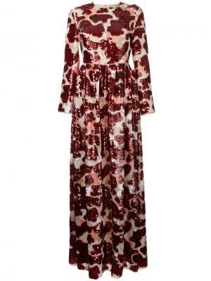 Длинное платье с пайетками Huishan Zhang. Цвет: красный