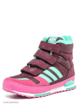 Кроссовки ZX WINTER CF K Adidas. Цвет: сливовый, фуксия, бирюзовый