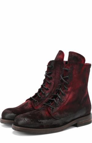 Кожаные ботинки с потертостями Ann Demeulemeester. Цвет: бордовый