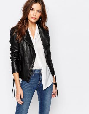 Muubaa Байкерская кожаная куртка Meggie. Цвет: черный