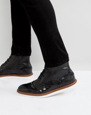 House of Hounds Черные кожаные ботинки на шнуровке. Цвет: черный