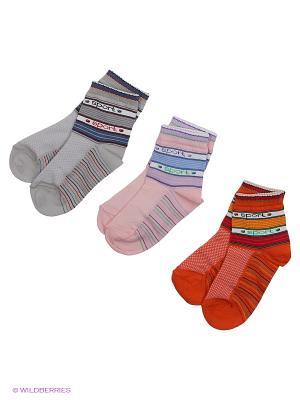 Носки, 3 пары Гамма. Цвет: серый, оранжевый, розовый