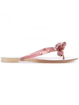 Шлепанцы Rockstud  Garavani Valentino. Цвет: розовый и фиолетовый