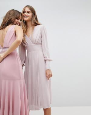 TFNC Платье миди с длинными рукавами и юбкой плиссе WEDDING. Цвет: коричневый