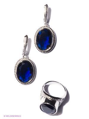 Комплект Lovely Jewelry. Цвет: серебристый, темно-синий