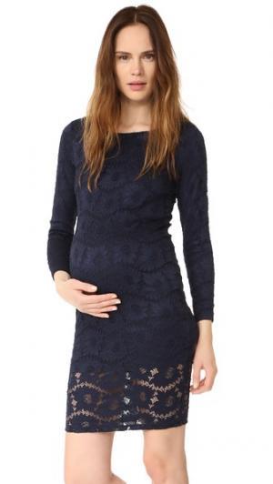 Кружевное платье с вырезом «лодочкой» Ingrid & Isabel. Цвет: настоящий темно-синий