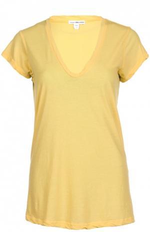 Хлопковая футболка с V-образным вырезом James Perse. Цвет: желтый