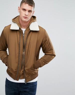 Selected Homme Куртка со съемным воротником из искусственного меха. Цвет: коричневый