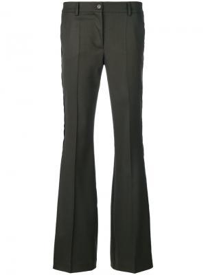 Расклешенные брюки строго кроя P.A.R.O.S.H.. Цвет: зелёный