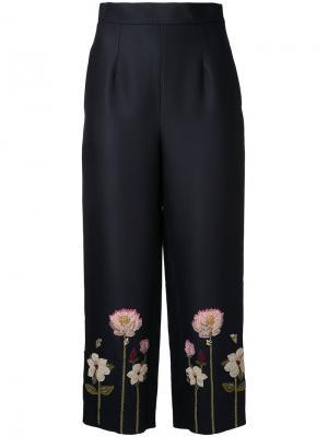 Укороченные брюки с цветочной вышивкой Vilshenko. Цвет: чёрный