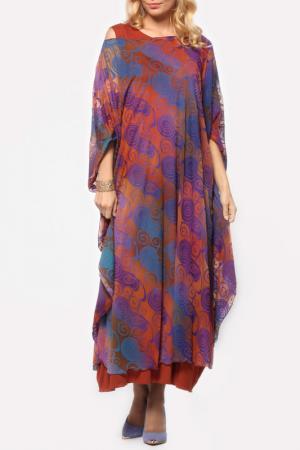 Платье Kata Binska. Цвет: терракотовый, мульти