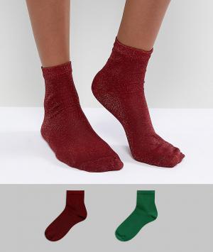 ASOS 2 пары зеленых и красных носков с блестками. Цвет: мульти