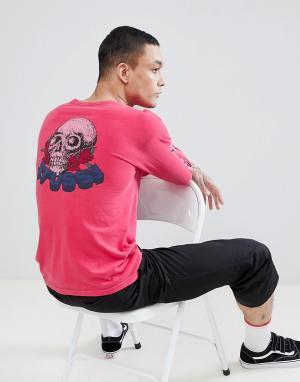 Stussy Розовый лонгслив с принтом на спине. Цвет: розовый