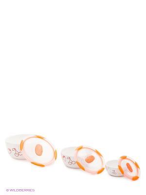 Набор керамических салатников с крышками, в наборе 3 шт. Объемы изделий наборе, л 0,3/0,85/1,7. OURSSON. Цвет: оранжевый