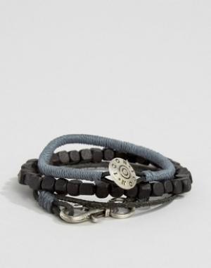 Icon Brand Набор браслетов (серый/черный). Цвет: черный