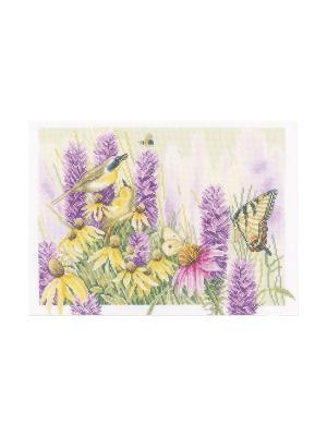 Набор для вышивания Butterfly bush and echinacea /Будлея и эхинацея/ 36*26см Vervaco. Цвет: зеленый, желтый, сиреневый