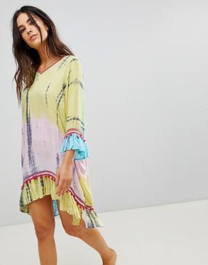 Anmol Пляжное платье с вышивкой. Цвет: мульти