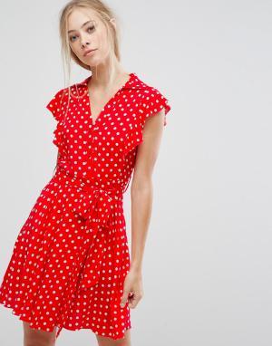 Pearl Платье-рубашка в горошек с оборкой. Цвет: розовый