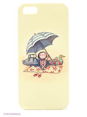 Чехол для IPhone 5 Девочка на пляже под зонтом Mitya Veselkov. Цвет: желтый, зеленый, красный