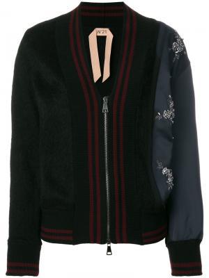 Декориорванная куртка-бомбер Nº21. Цвет: чёрный