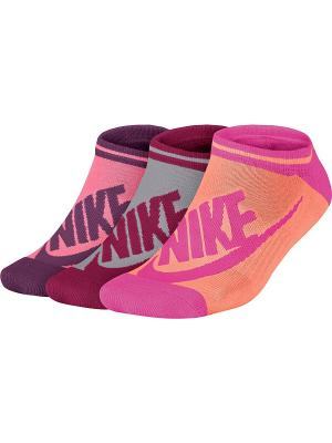 Носки NSW WOMENS -3PPK STRIPED NO SH Nike. Цвет: оранжевый, бордовый, розовый