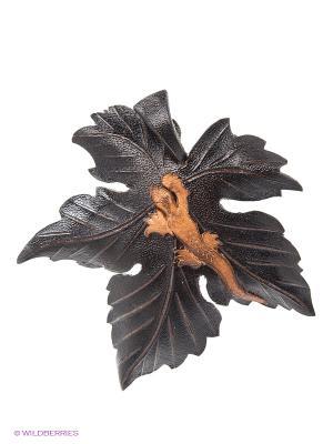 Брошь Ящерка на листике Мастер ГРиСС. Цвет: черный, темно-коричневый, коричневый