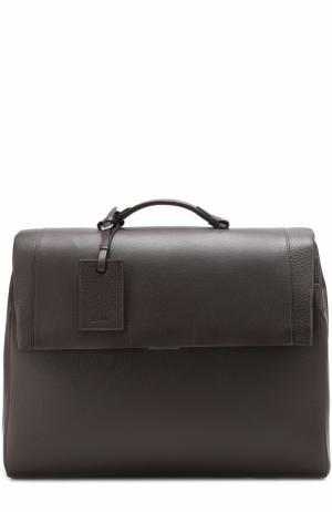 Комплект из кожаного портфеля и папки для бумаг Brioni. Цвет: темно-коричневый