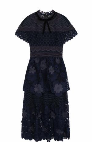 Приталенное кружевное платье-миди self-portrait. Цвет: темно-синий