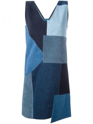Джинсовое лоскутное платье Marten Mih Jeans. Цвет: синий