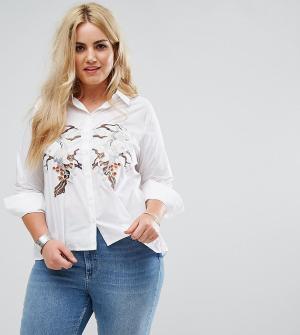 Alice & You Свободная рубашка с завязками и вышивкой. Цвет: белый