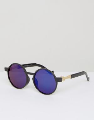 7X Круглые солнцезащитные очки с синими стеклами. Цвет: черный