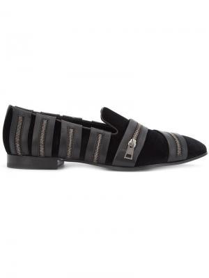 Zip embellished slippers Louis Leeman. Цвет: чёрный