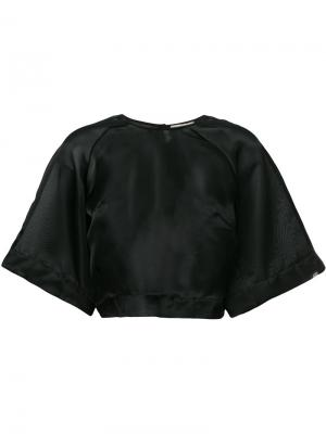 Укороченная прозрачная блузка Murmur. Цвет: чёрный