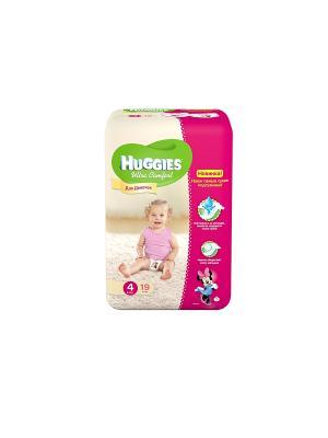 Подгузники Ultra Comfort Размер 4 8-14кг 19шт для девочек HUGGIES. Цвет: розовый