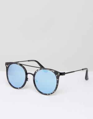 Quay Eyewear Солнцезащитные очки в черной черепаховой оправе с голубыми зеркальными. Цвет: черный