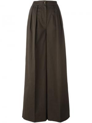 Широкие брюки Moncler. Цвет: зелёный