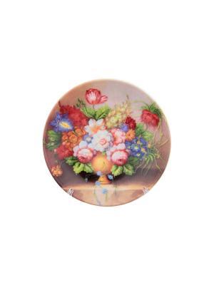 Тарелка декоративная Букет Elan Gallery. Цвет: зеленый, коричневый, розовый, синий